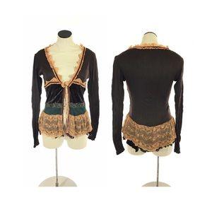 Hazel Anthropologie Cardigan VictorianRuffle Lace